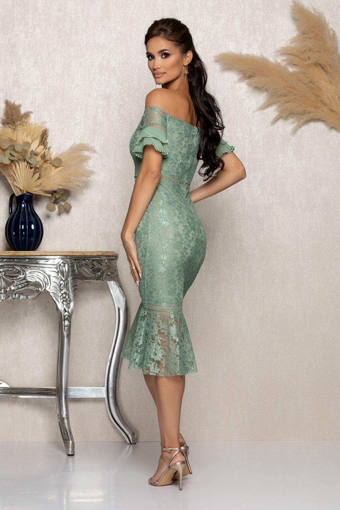 Βεραμάν Μίντι Βραδινό Φόρεμα Από Δαντέλα Darla A1138 2