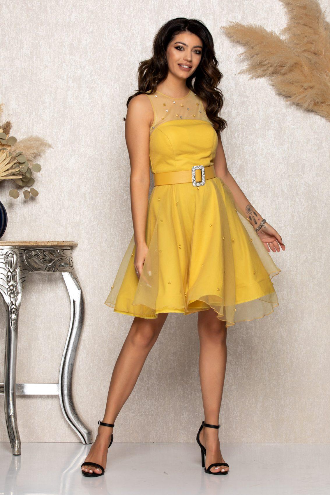 Κίτρινο Φόρεμα Mirry A191 1