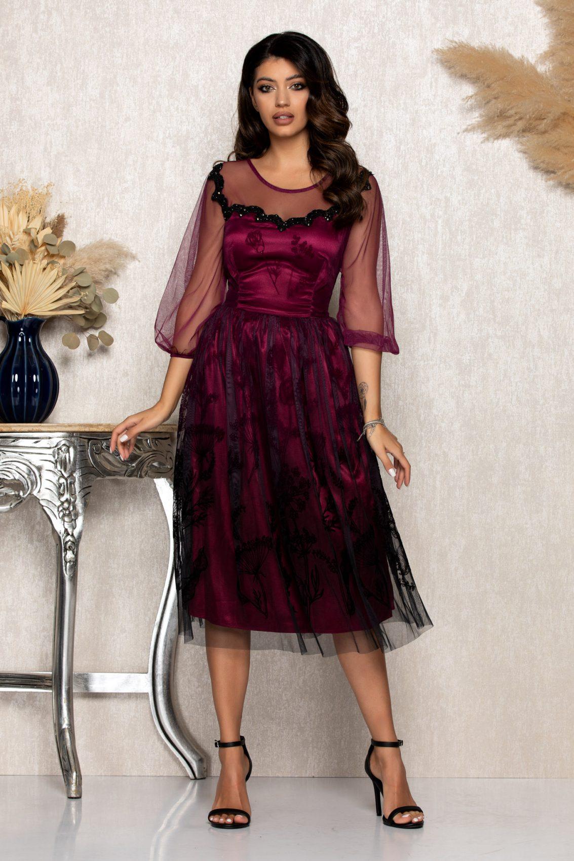 Ματζέντα Μίντι Αμπιγιέ Φόρεμα Catinka B180 1