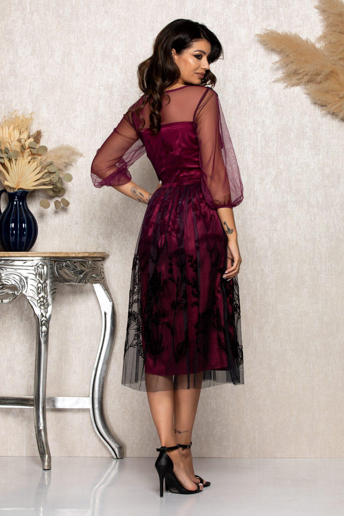 Ματζέντα Μίντι Αμπιγιέ Φόρεμα Catinka B180 2