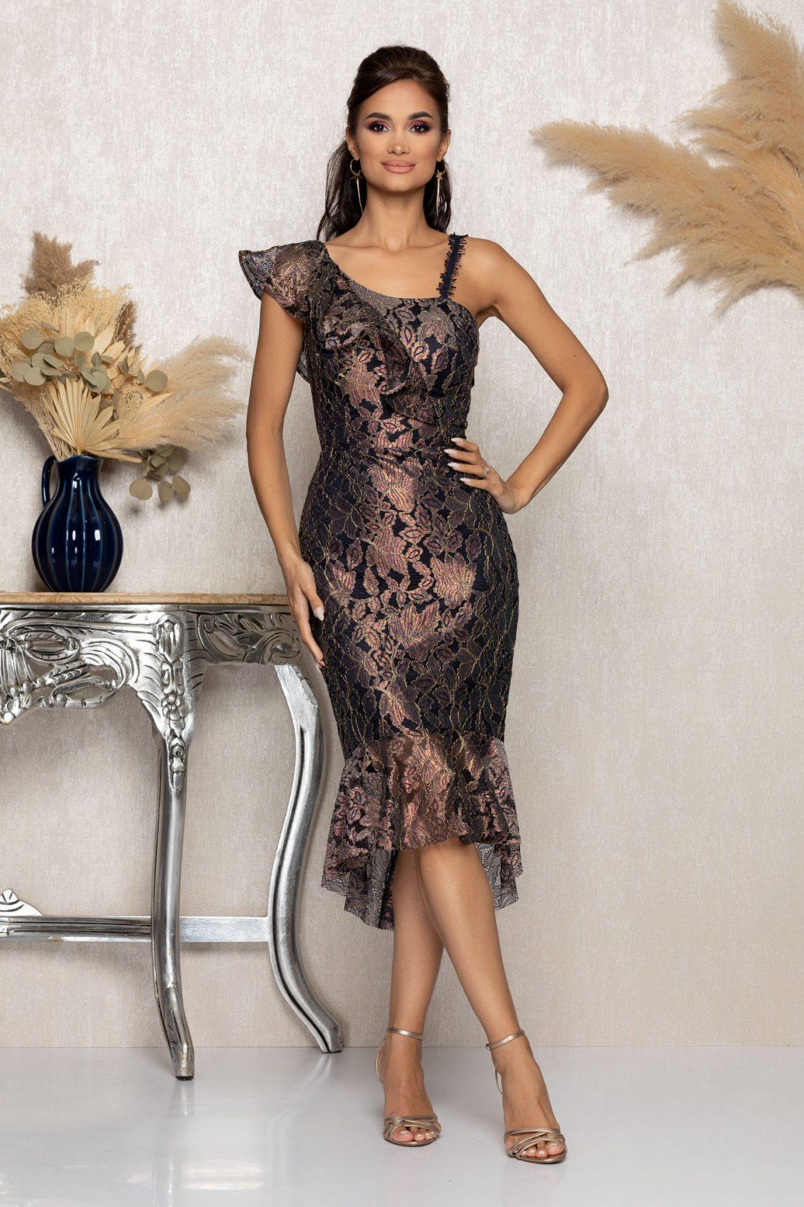 Μίντι Βραδινό Φόρεμα Από Δαντέλα Kendall A1151 1