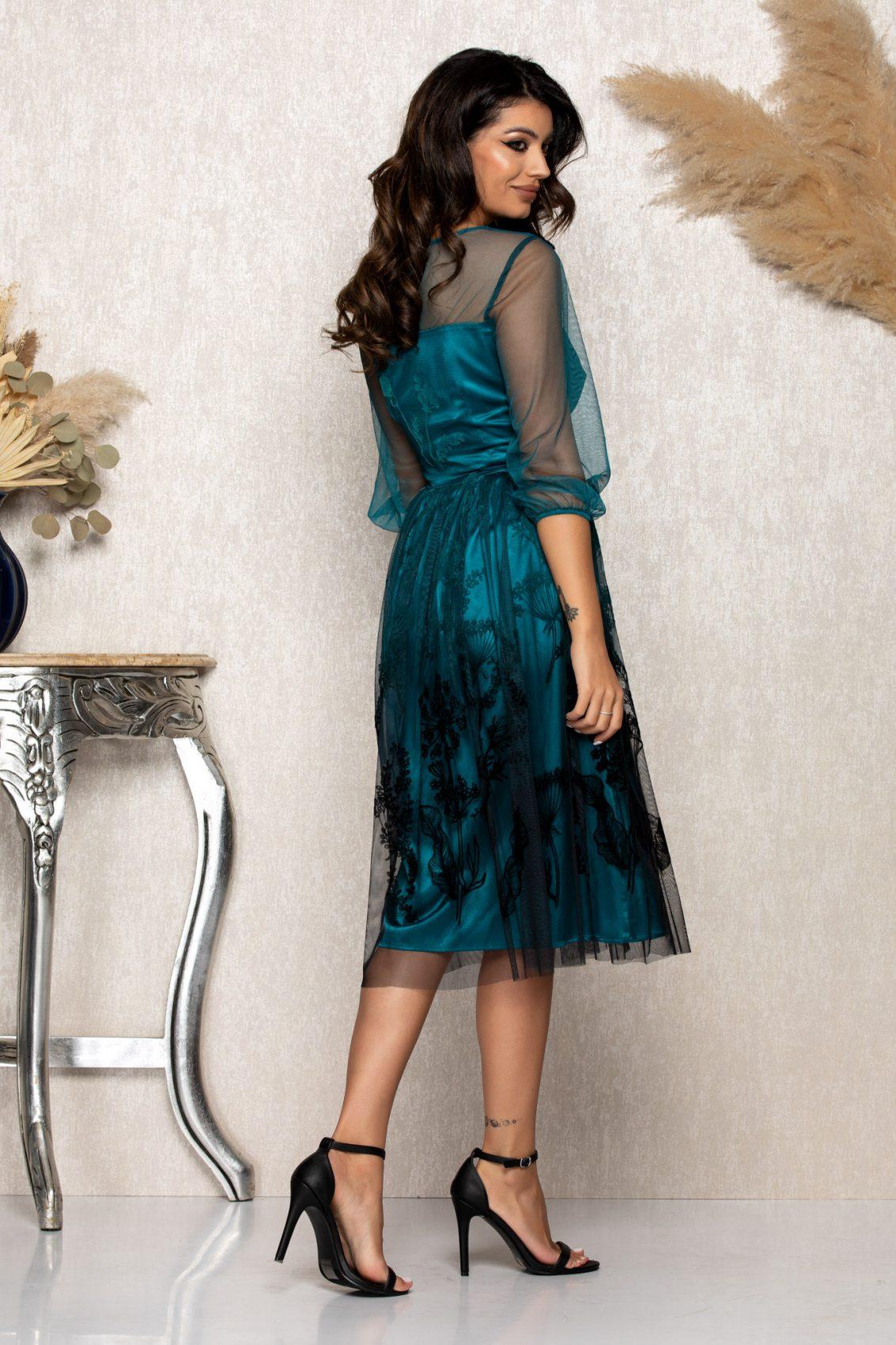 Τυρκουάζ Μίντι Αμπιγιέ Φόρεμα Catinka B181 2