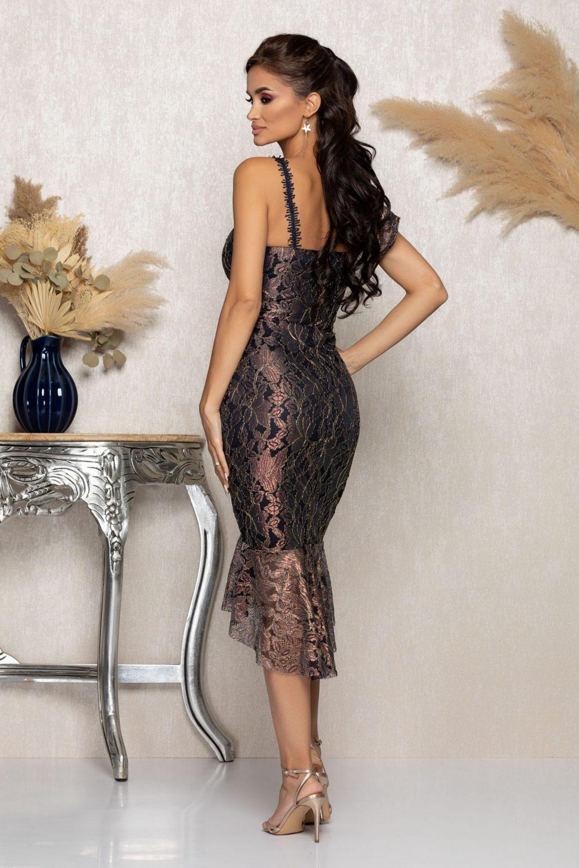 Μίντι Βραδινό Φόρεμα Από Δαντέλα Kendall A1151 2