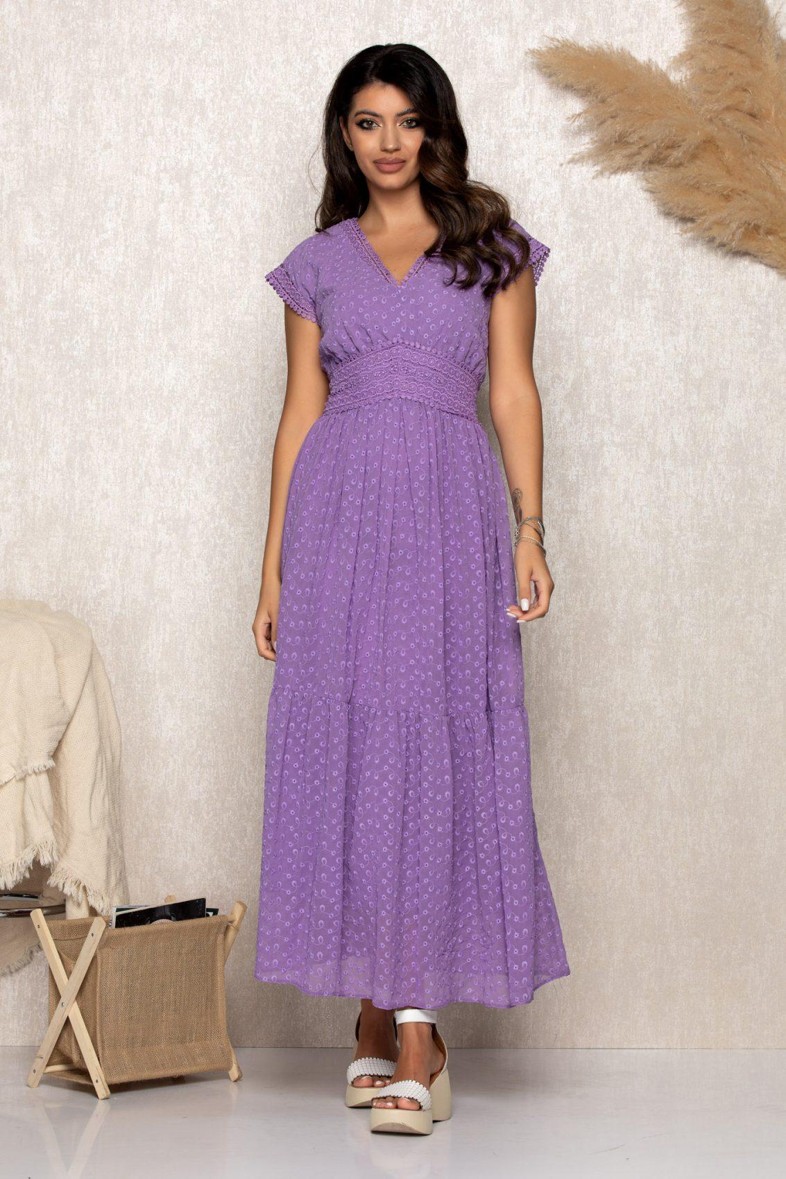 Μωβ Μάξι Φόρεμα Quincy B189 1