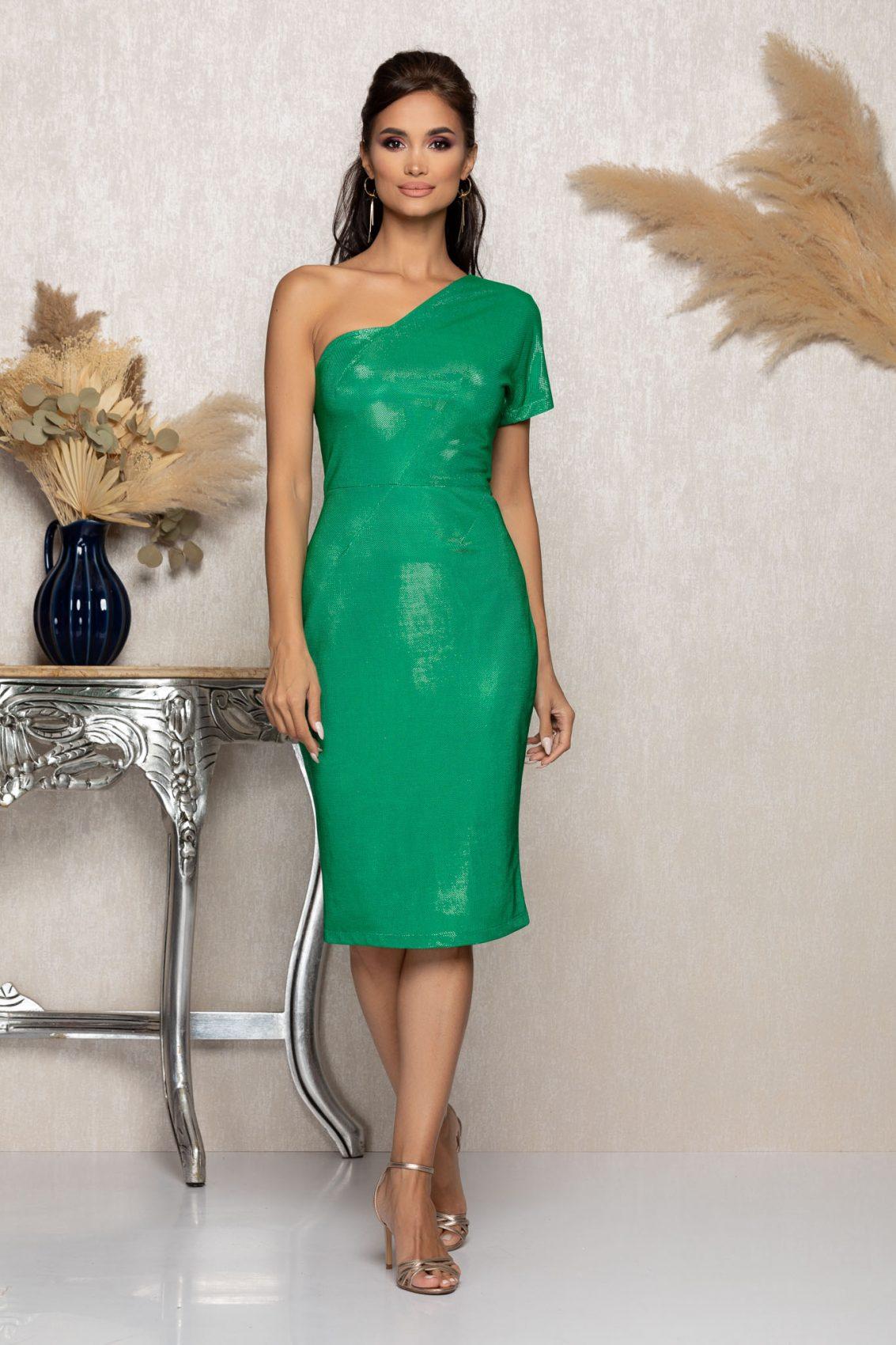 Πράσινο Μίντι Αμπιγιέ Φόρεμα Connie A988 1