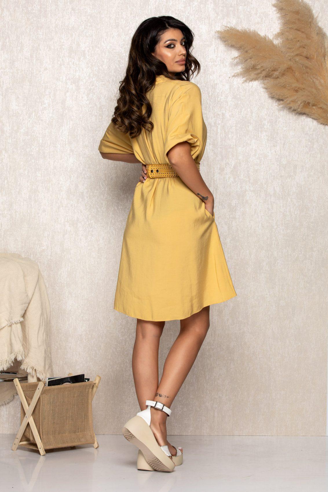 Κίτρινο Φόρεμα Με Ζώνη Molly B171 2