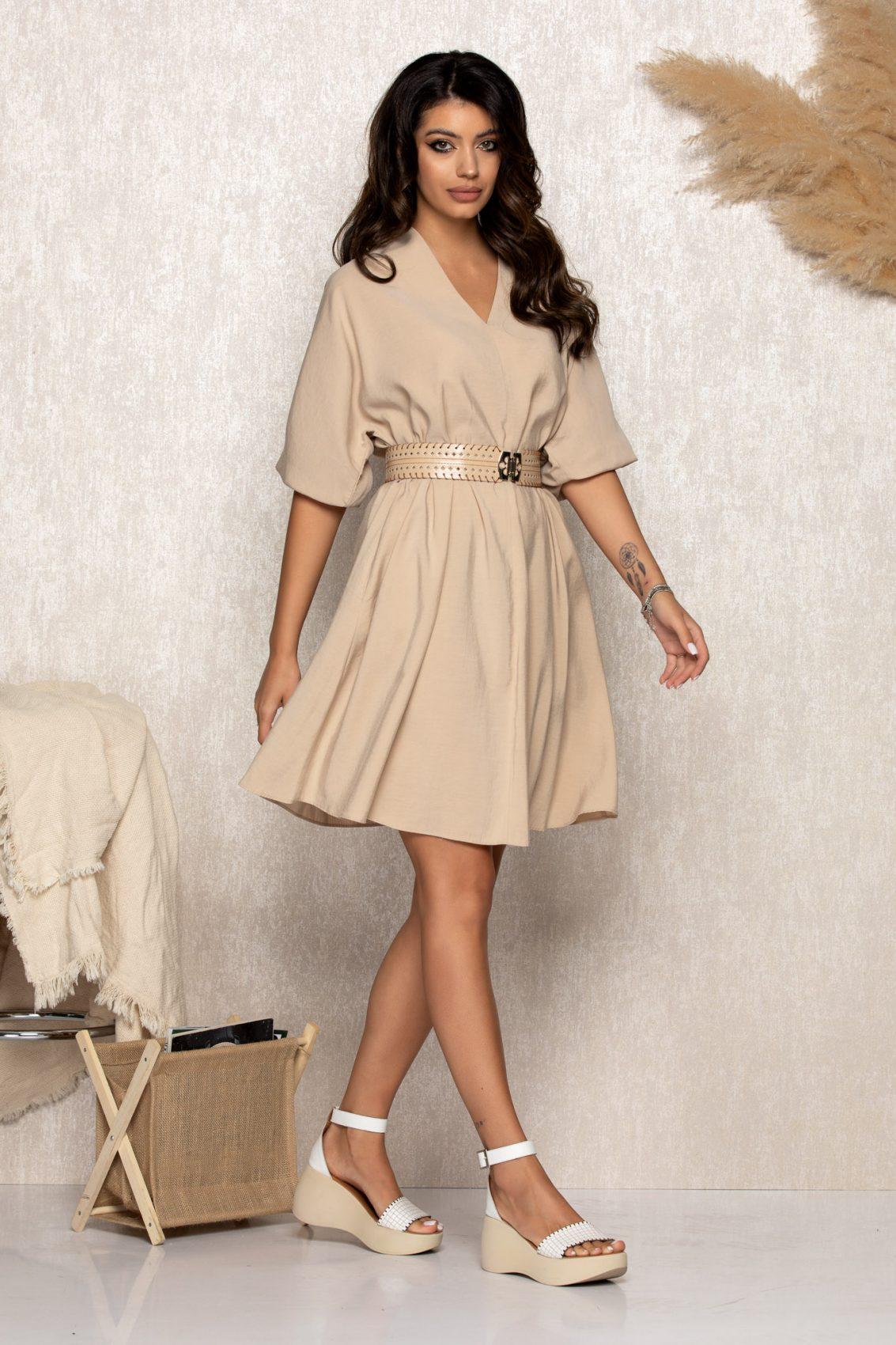 Μπεζ Φόρεμα Με Ζώνη Molly B170 1
