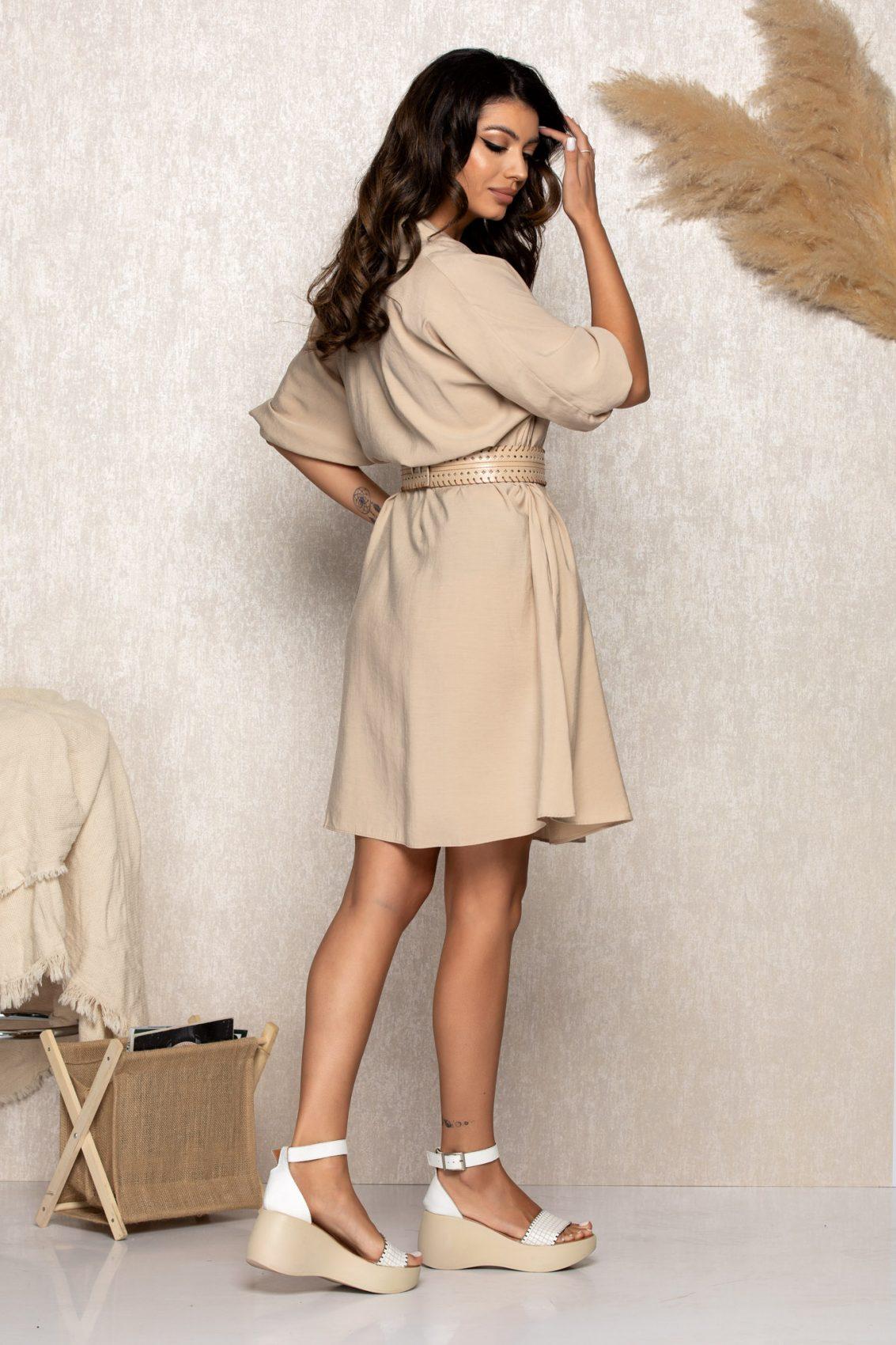 Μπεζ Φόρεμα Με Ζώνη Molly B170 2