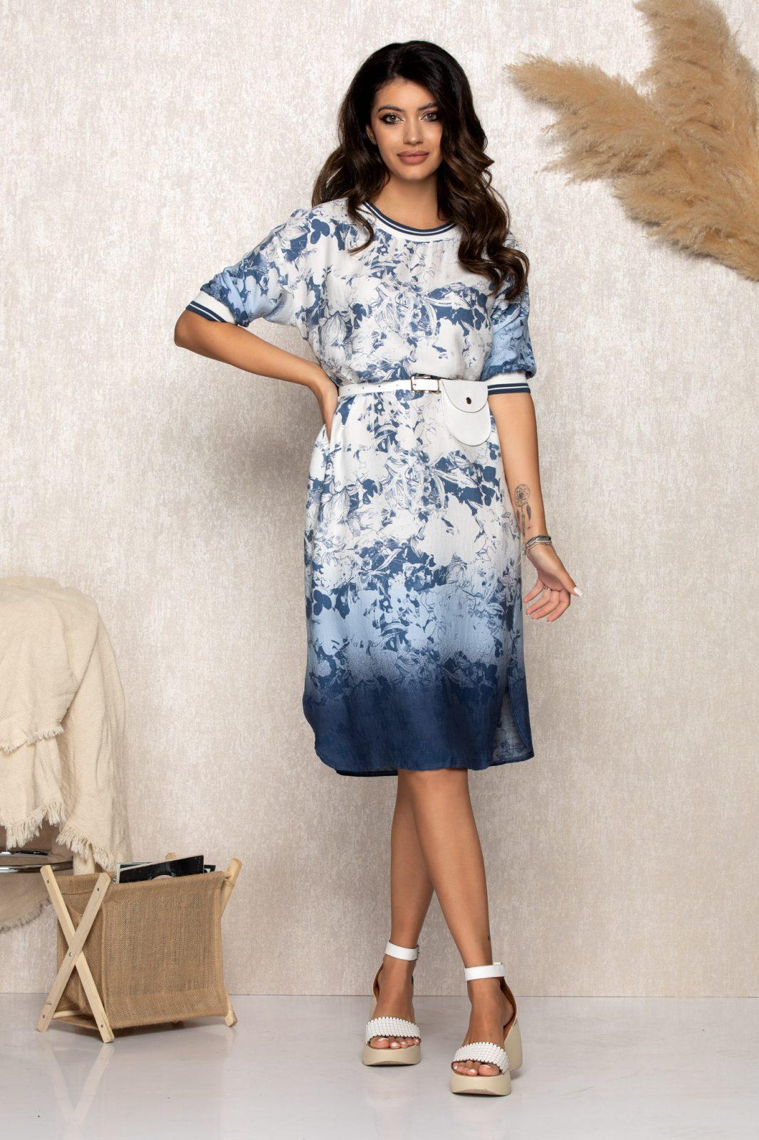 Μπλε Καθημερινό Φόρεμα Με Πορτοφόλι Saige B160 1
