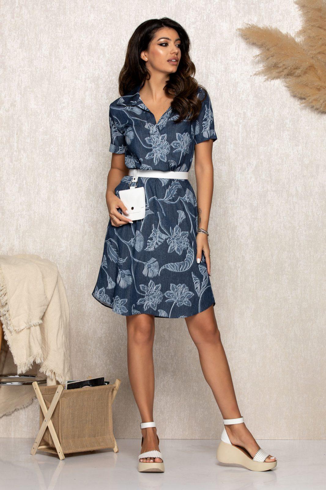 Καθημερινό Μπλε Φόρεμα Με Πορτοφόλι Zahra B158 1