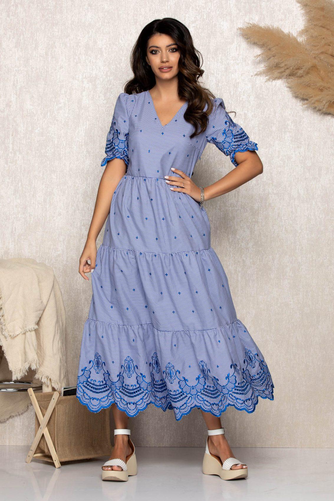 Μπλε Μάξι Καθημερινό Φόρεμα Mika B183 1