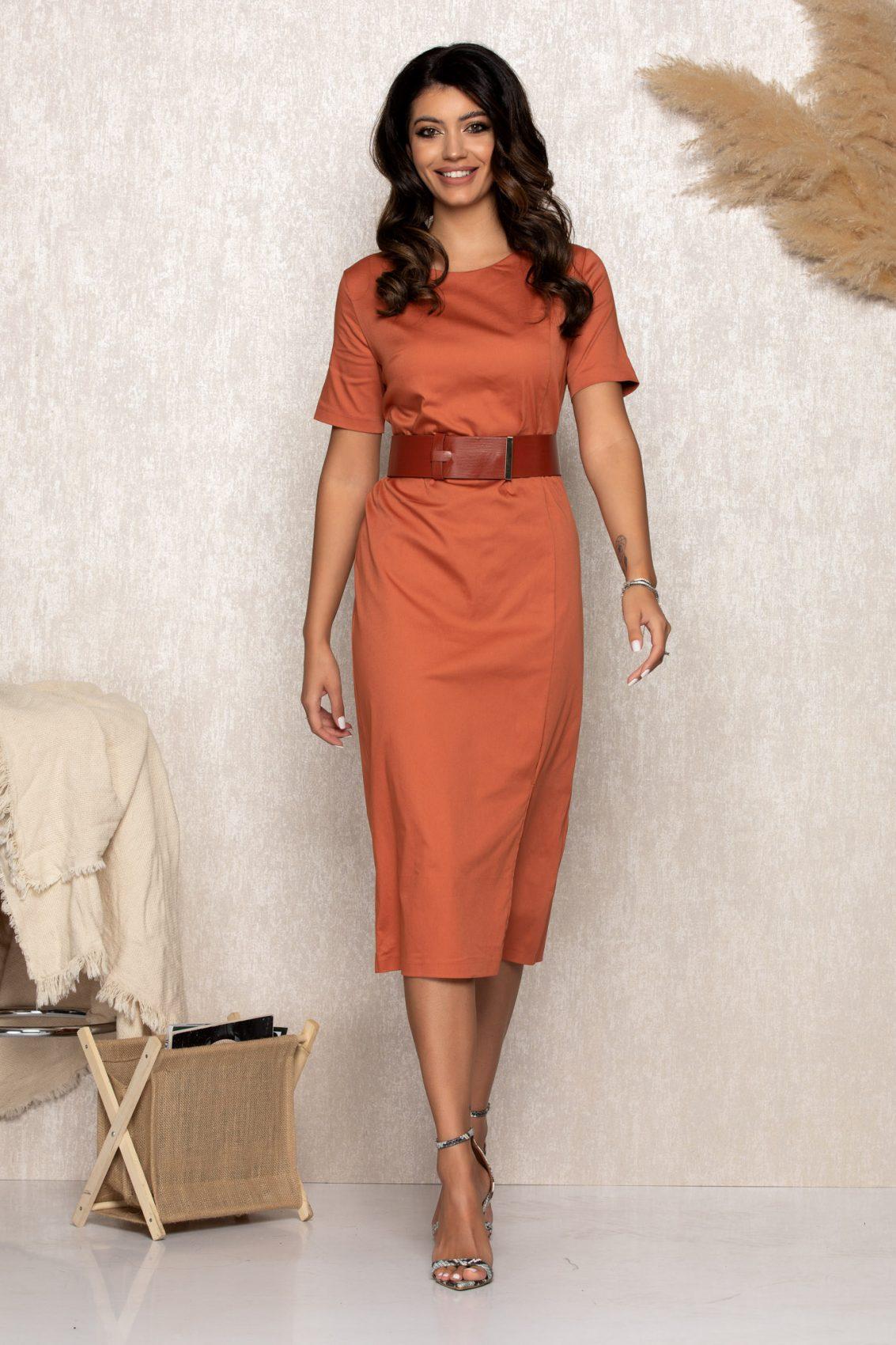 Κεραμιδί Μίντι Φόρεμα Zena B190 1