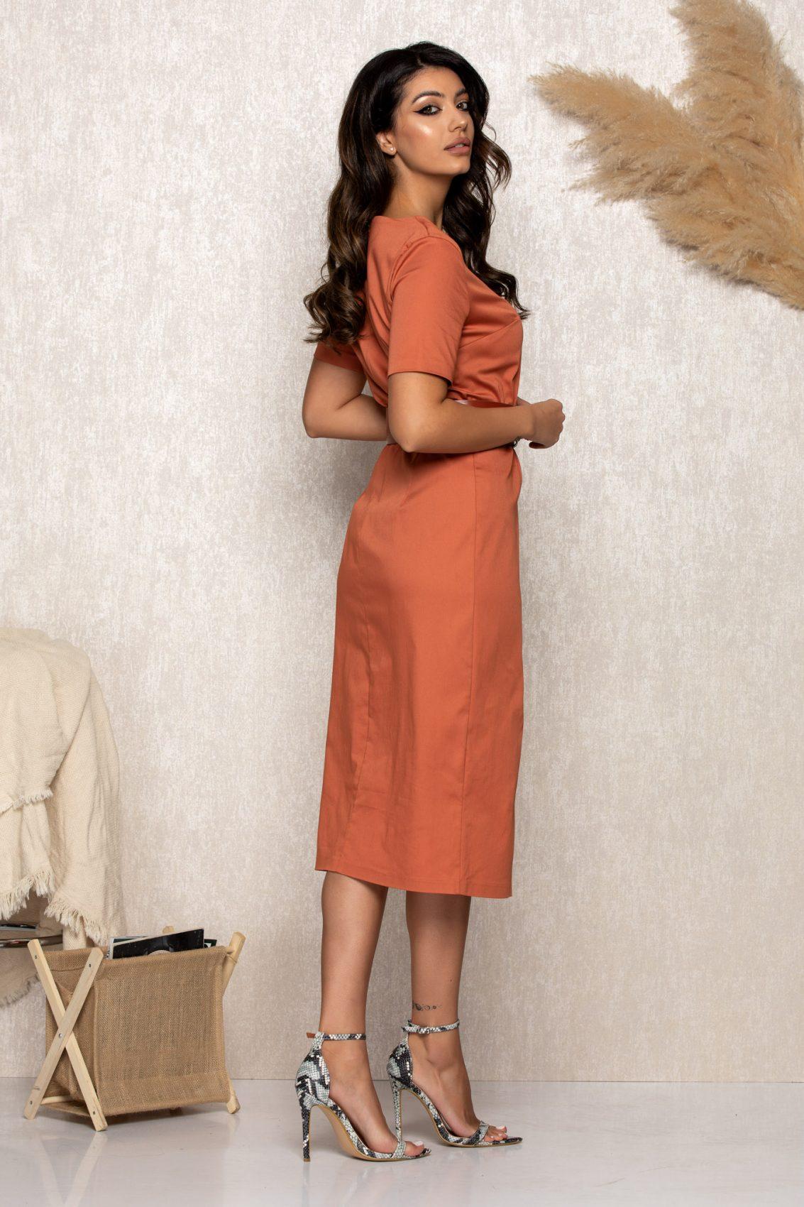 Κεραμιδί Μίντι Φόρεμα Zena B190 2