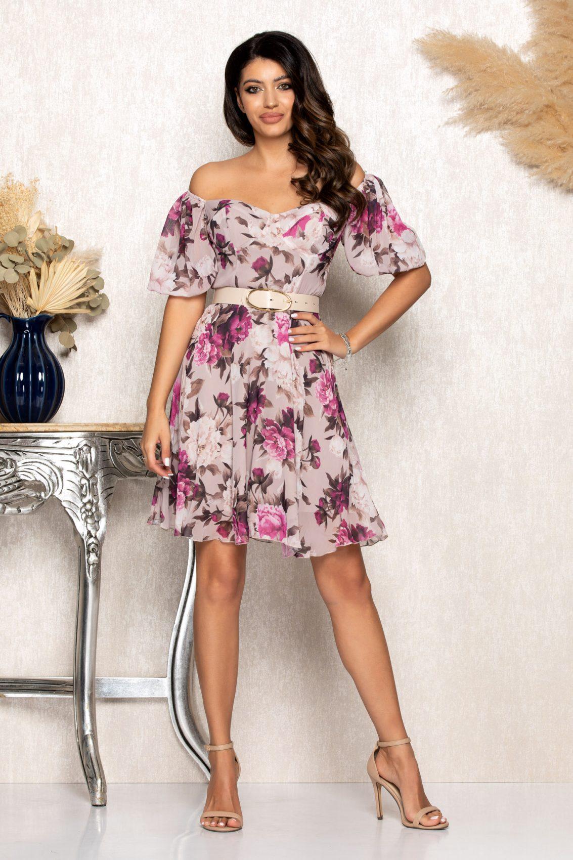 Λιλά Φλοράλ Φόρεμα Katya B104 1