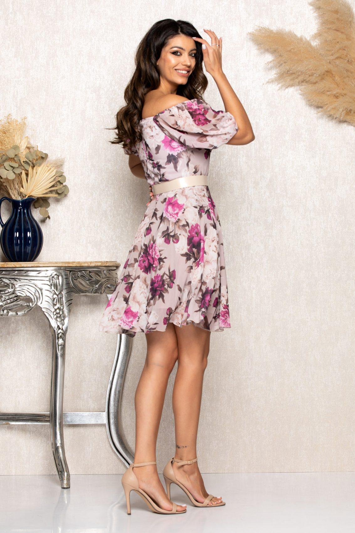 Λιλά Φλοράλ Φόρεμα Katya B104 2