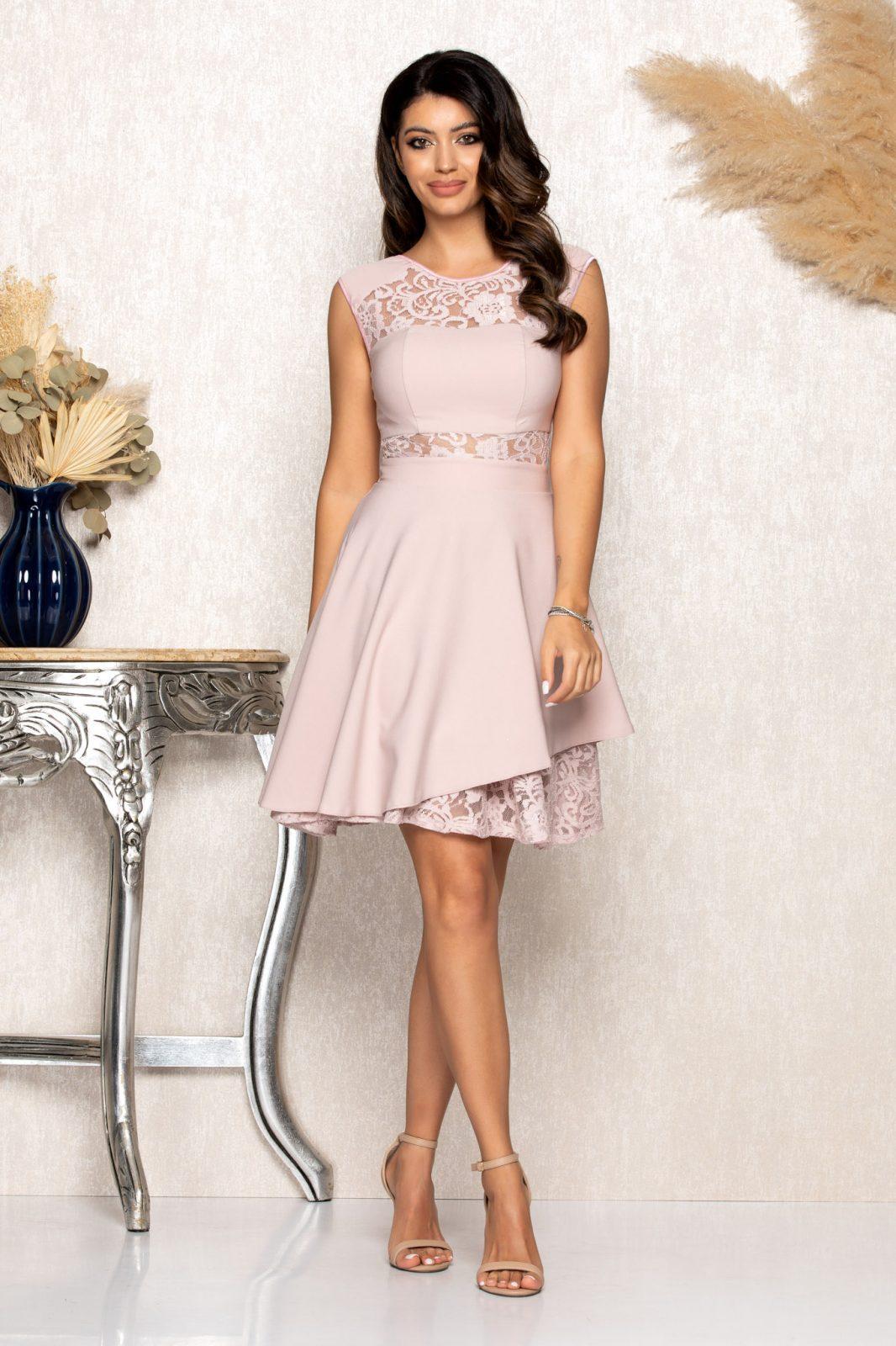 Ροζ Αμπιγιέ Φόρεμα Με Δαντέλα Phoebe B135 1
