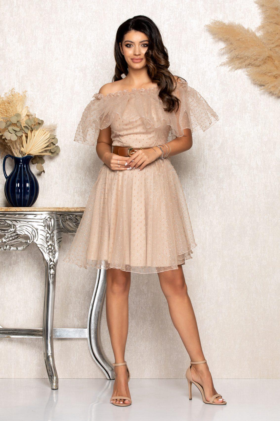 Nude Αμπιγιέ Φόρεμα Με Βολάν Elsa B128 1