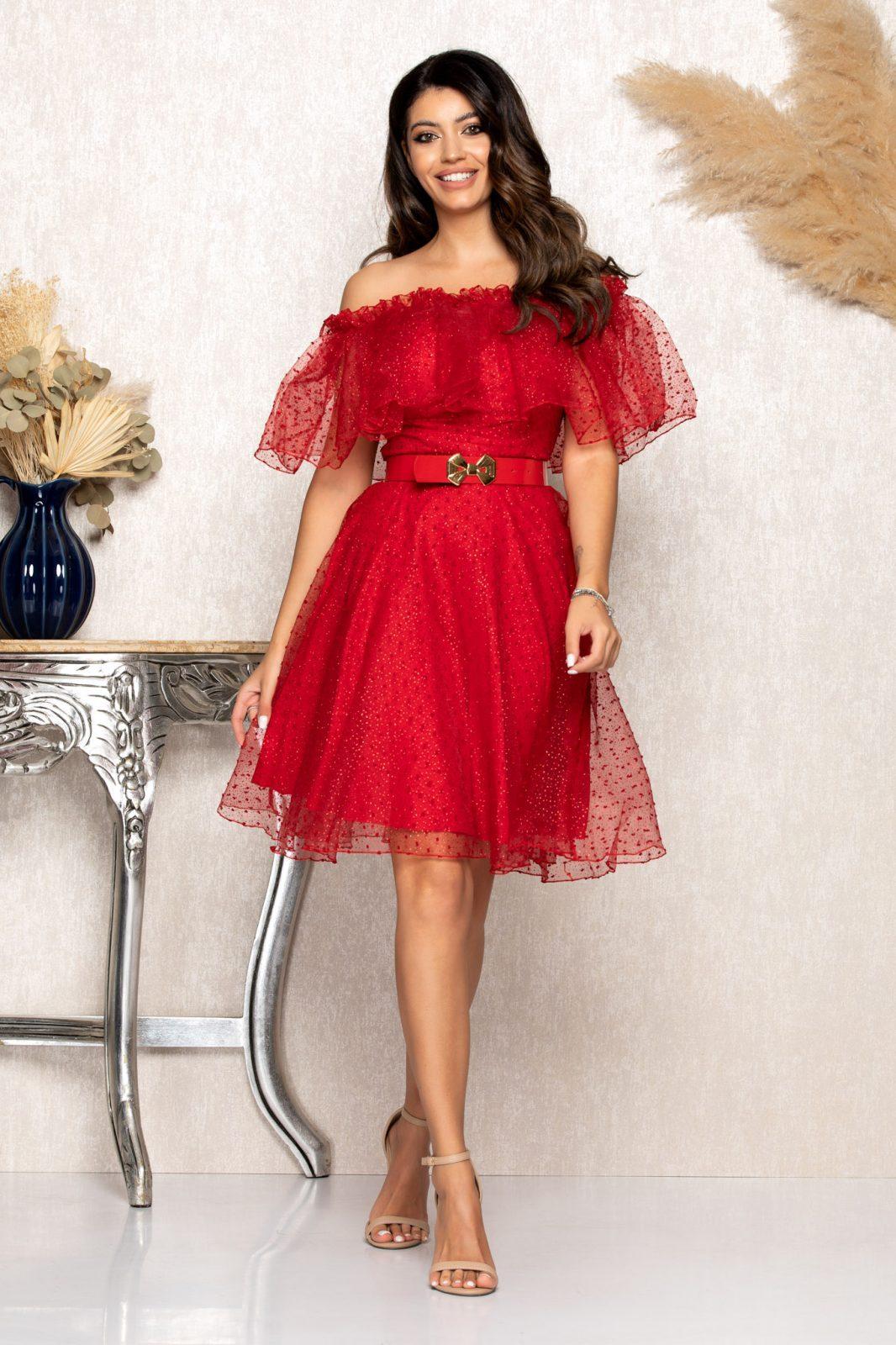 Κόκκινο Αμπιγιέ Φόρεμα Με Βολάν Elsa B126 1