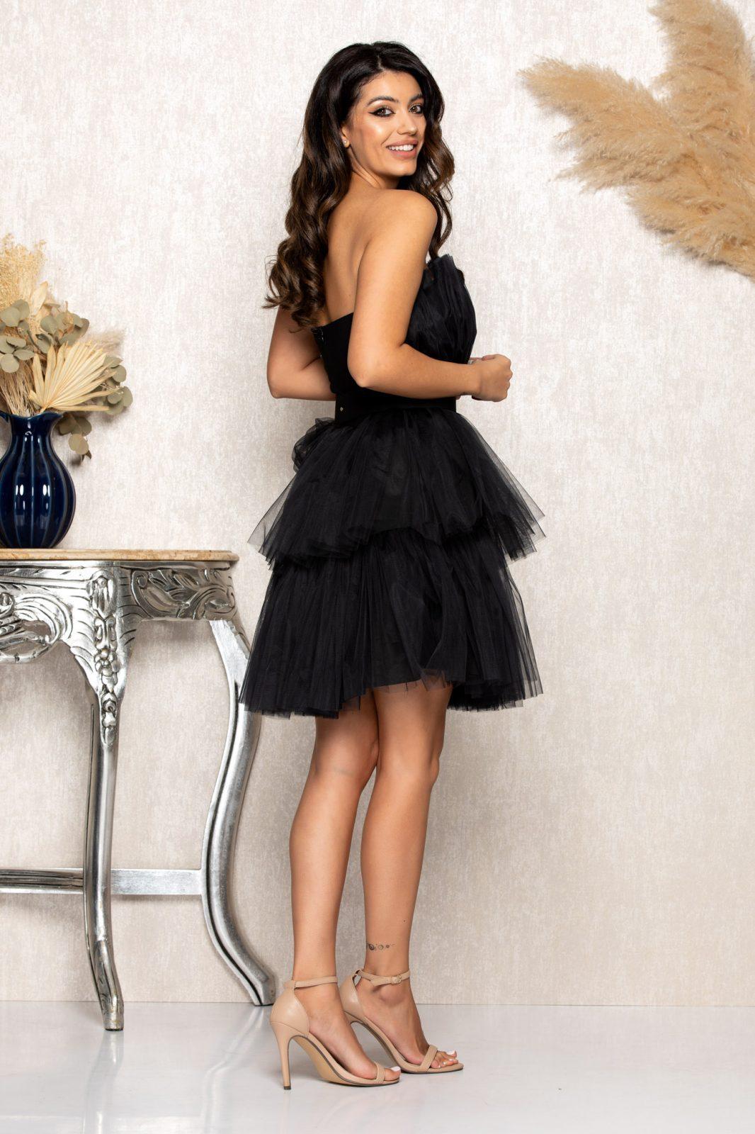 Μαύρο Μίνι Αμπιγιέ Φόρεμα Princessa B145 2