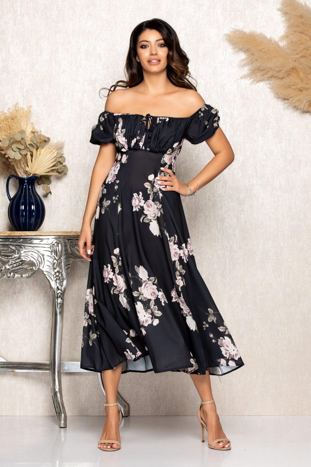 Μαύρο Μίντι Φλοράλ Φόρεμα Rory B151 1