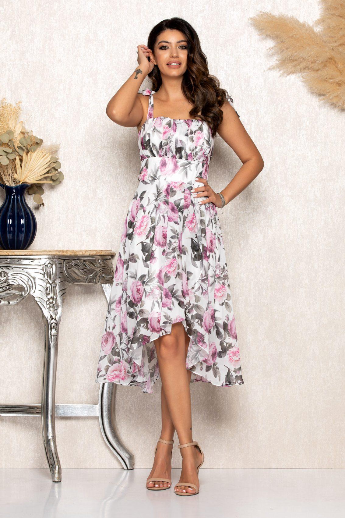 Μίντι Φλοράλ Ασύμμετρο Φόρεμα Brielle B113 1