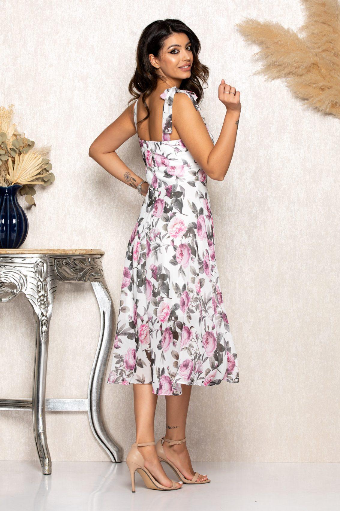 Μίντι Φλοράλ Ασύμμετρο Φόρεμα Brielle B113 2