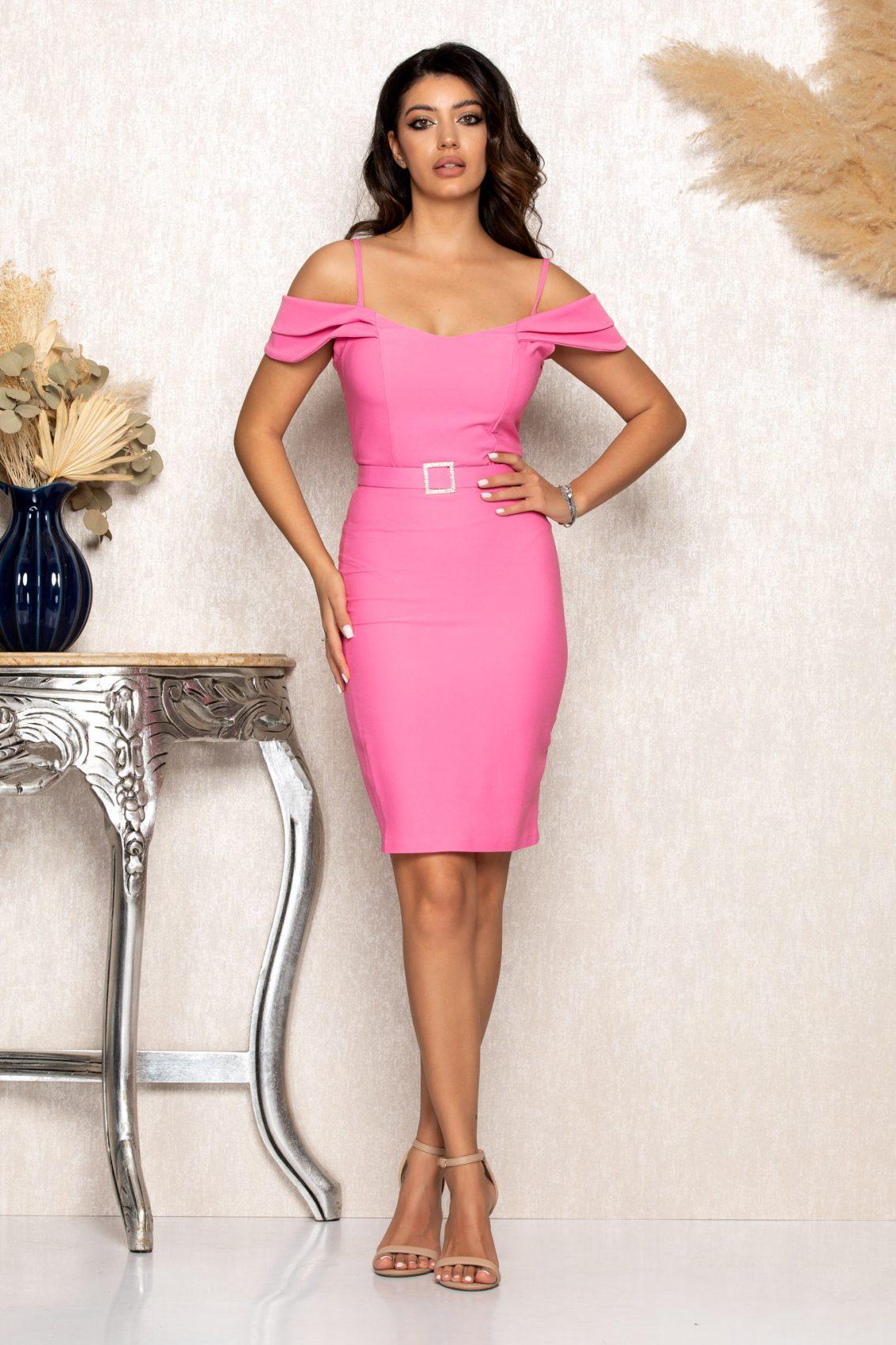 Ροζ Μίνι Αμπιγιέ Φόρεμα Noyre B111 1