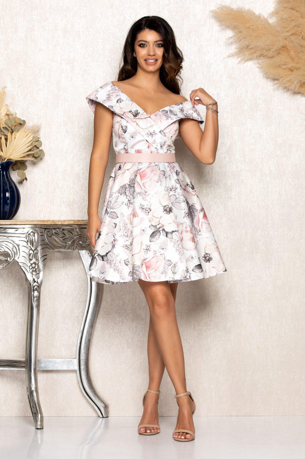 Λευκό Σατέν Μίνι Βραδινό Φλοράλ Φόρεμα Edith B154 1