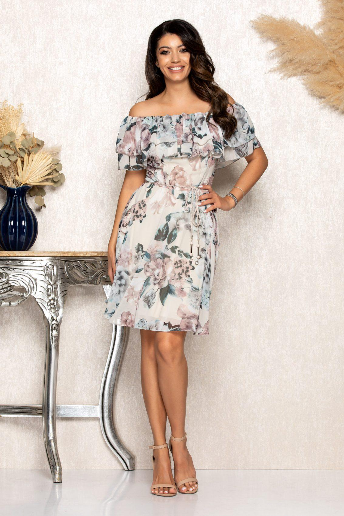 Nude Φλοράλ Φόρεμα Με Βολάν Jasmine B120 1