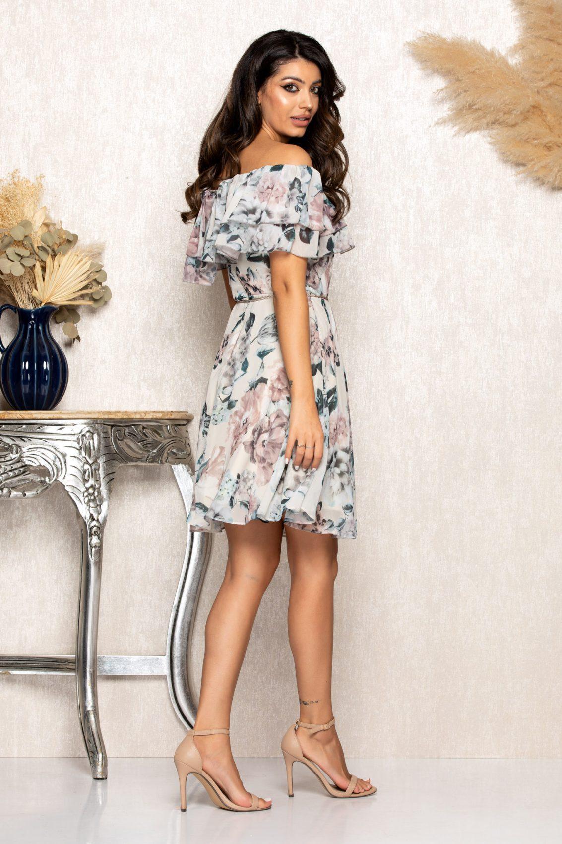 Nude Φλοράλ Φόρεμα Με Βολάν Jasmine B120 2
