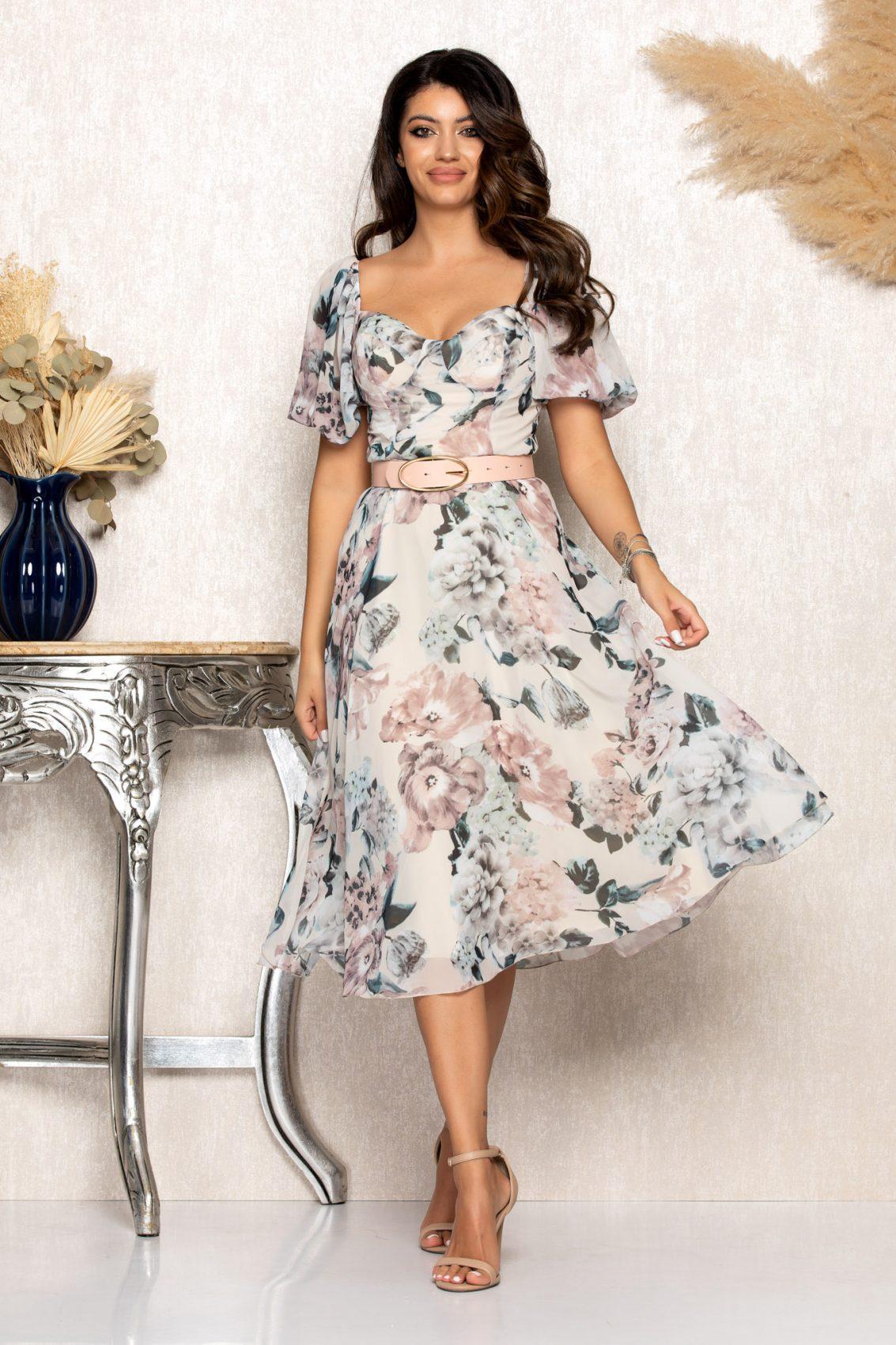 Nude Μίντι Φλοράλ Φόρεμα Emilly B110 1