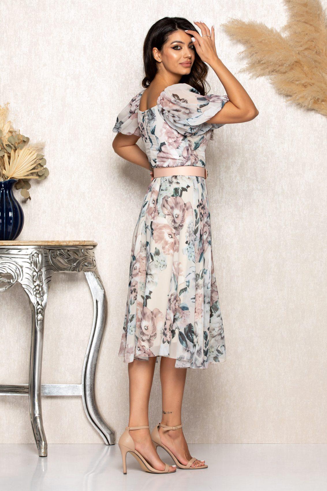 Nude Μίντι Φλοράλ Φόρεμα Emilly B110 2