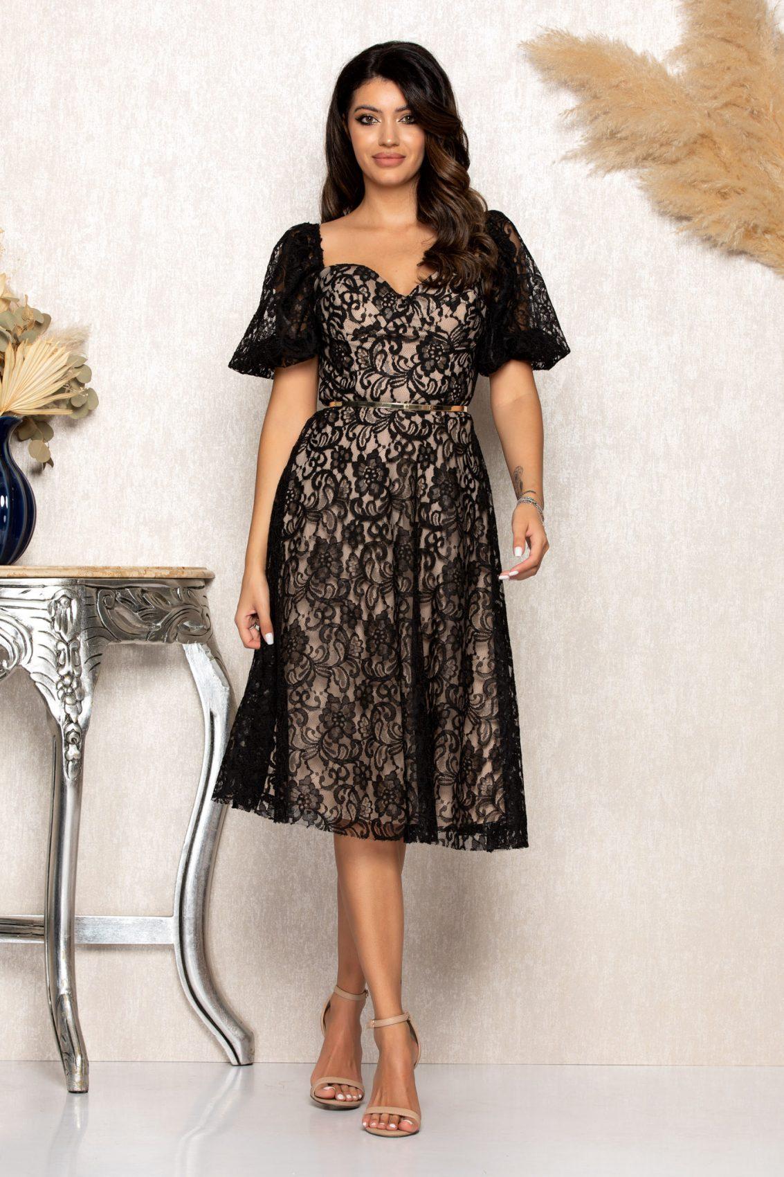 Μαύρο Μίντι Αμπιγιέ Φόρεμα Από Δαντέλα Annabell B125 1