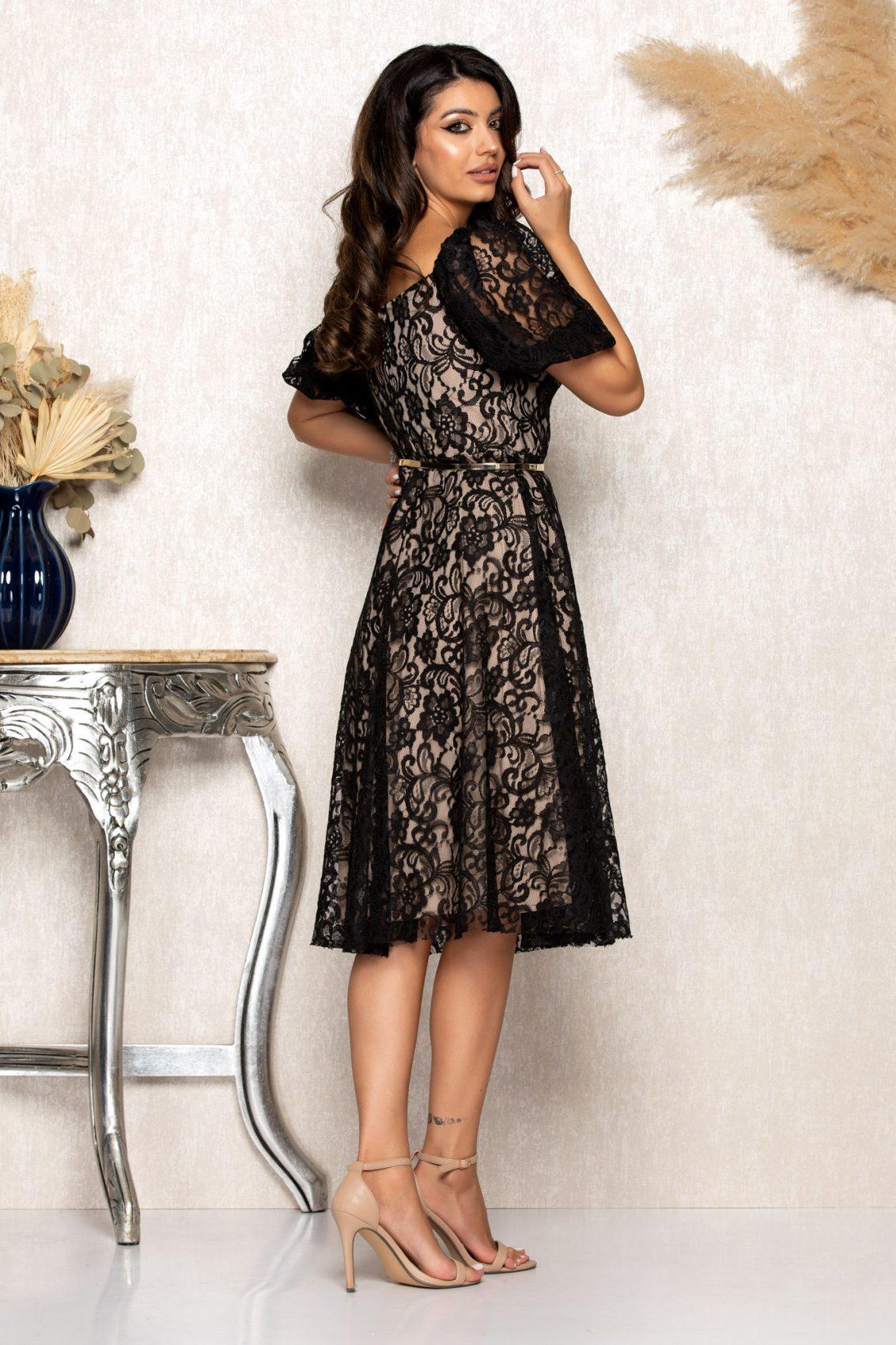 Μαύρο Μίντι Αμπιγιέ Φόρεμα Από Δαντέλα Annabell B125 2