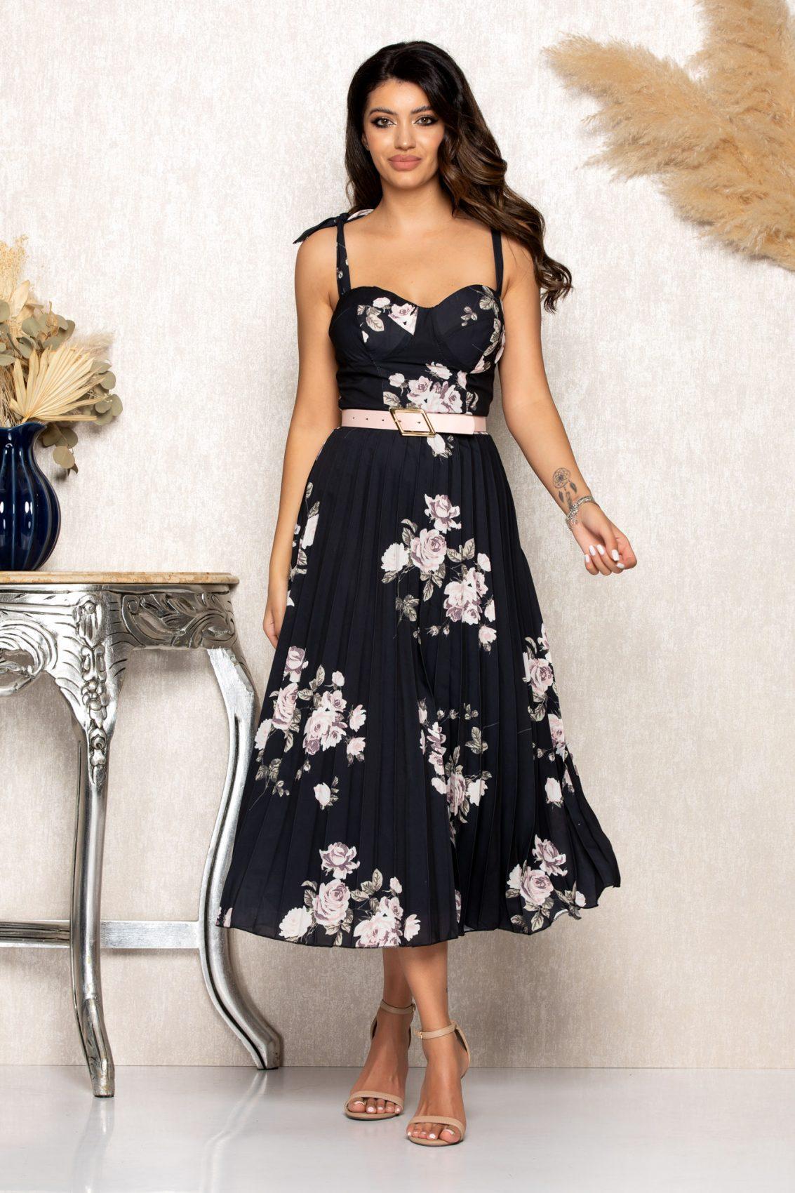 Μαύρο Φλοράλ Μίντι Φόρεμα Με Τιράντες Paloma B121 1