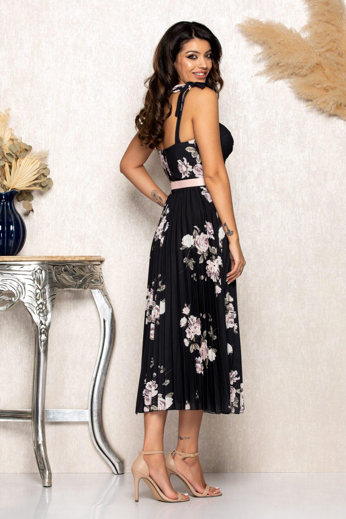 Μαύρο Φλοράλ Μίντι Φόρεμα Με Τιράντες Paloma B121 2
