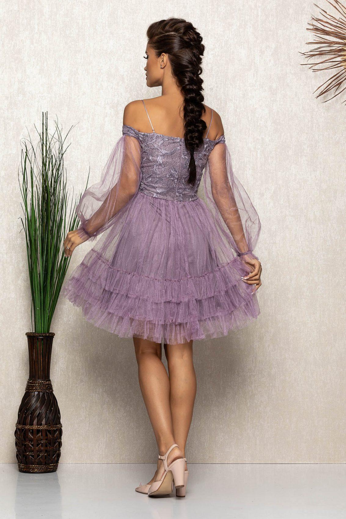 Λιλά Φόρεμα Με Δαντέλα Emanuelle A512 2