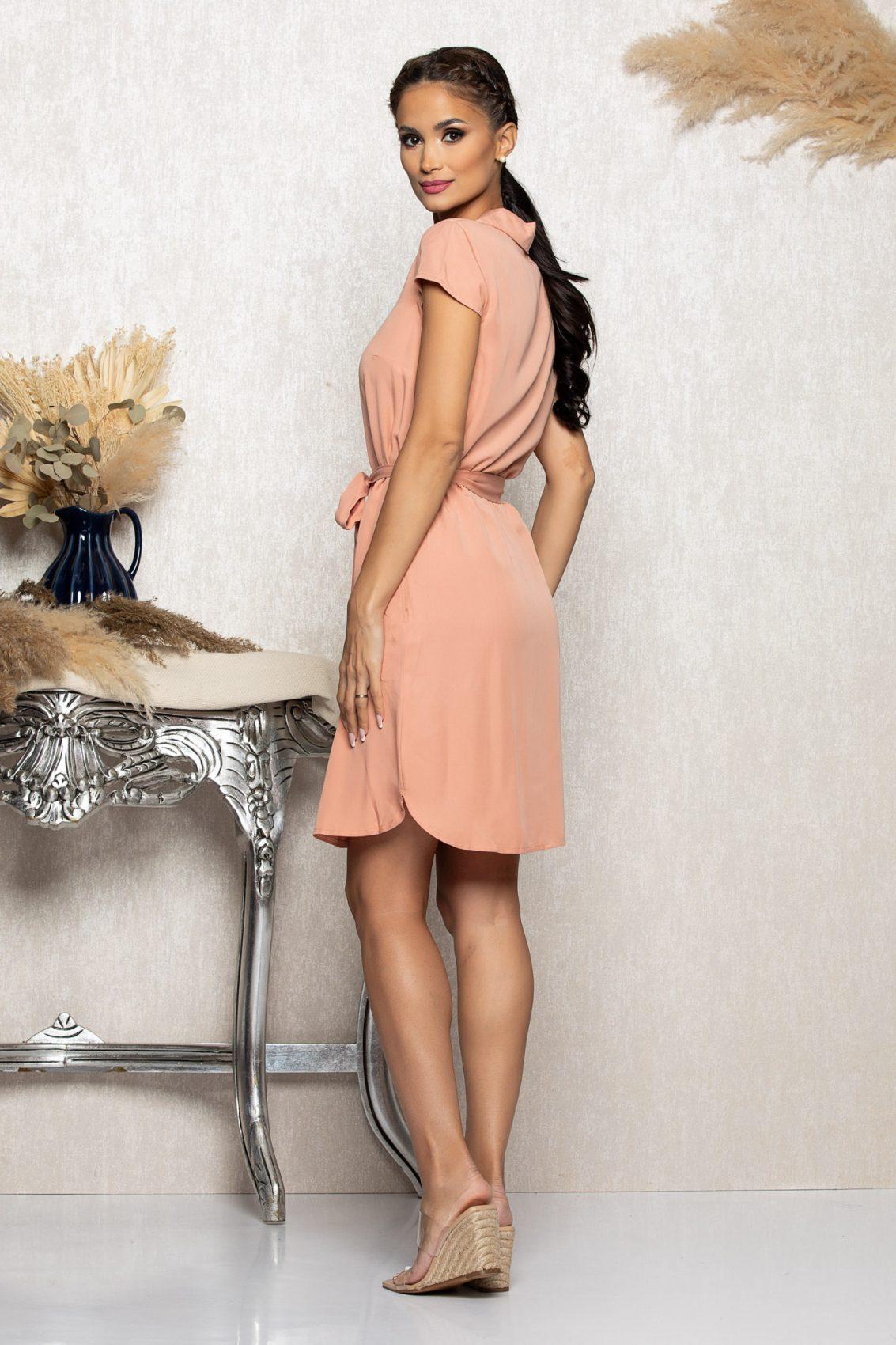 Ροδακινί Σεμιζιέ Φόρεμα Zya A1103 2