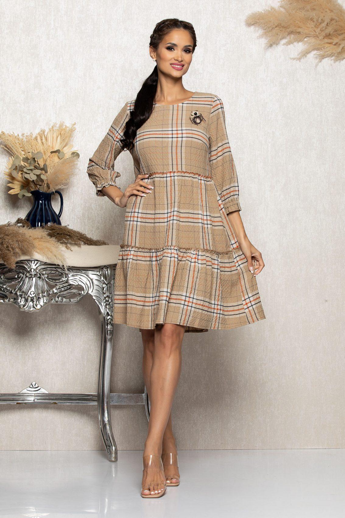 Μπεζ Καρό Φόρεμα Με Καρφίτσα Gretta A1082 1