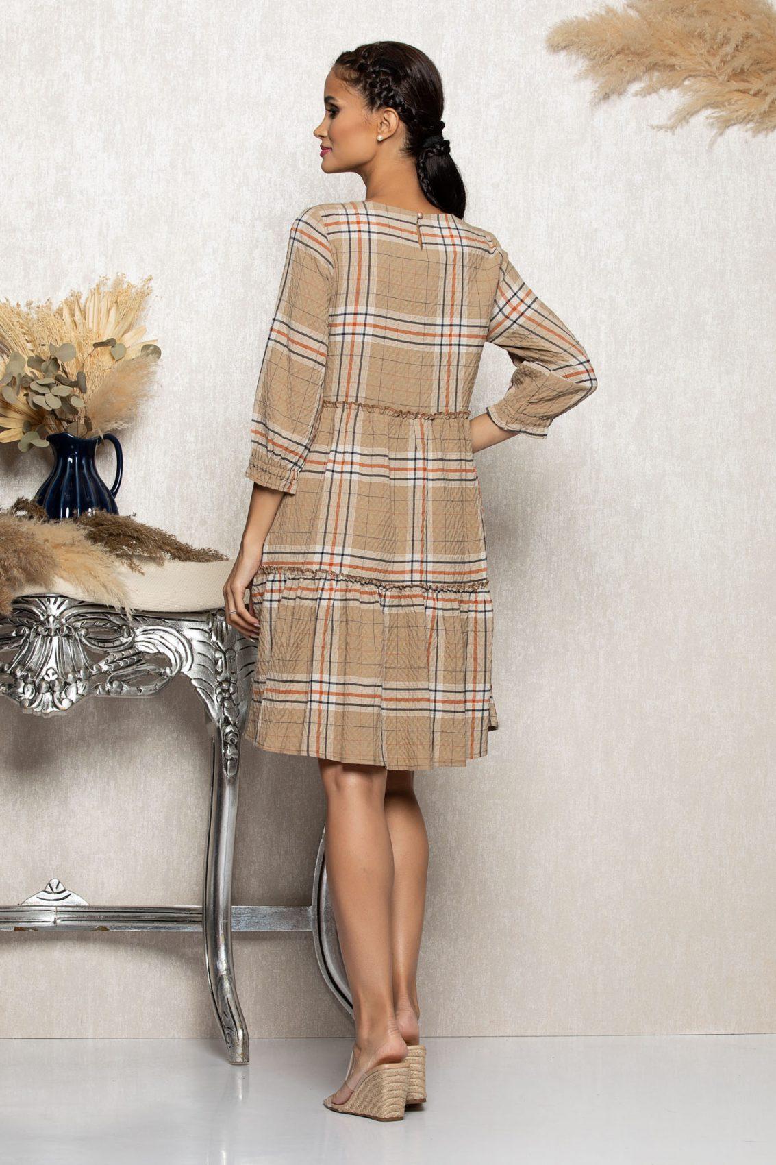 Μπεζ Καρό Φόρεμα Με Καρφίτσα Gretta A1082 2