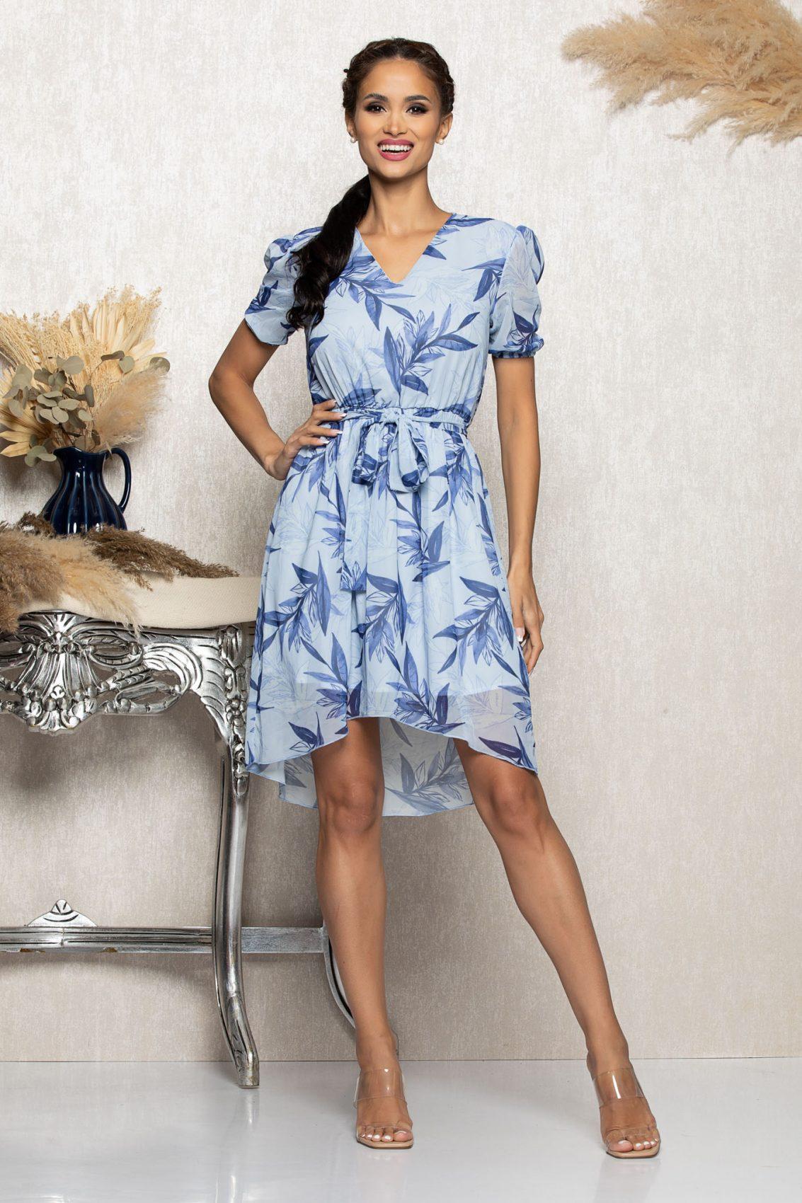 Μπλε Ασύμμετρο Φόρεμα Mabel A1059 1