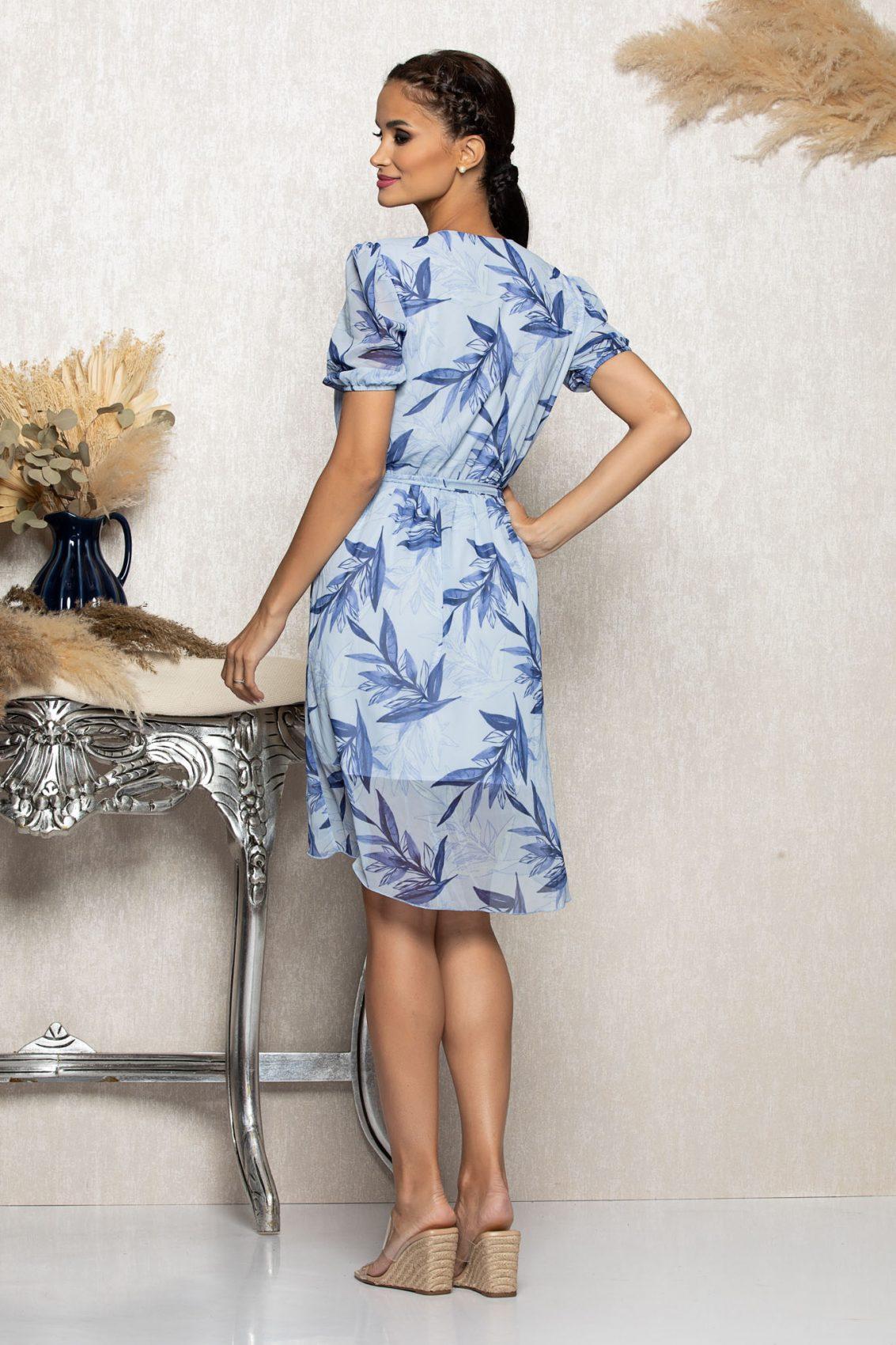Μπλε Ασύμμετρο Φόρεμα Mabel A1059 2