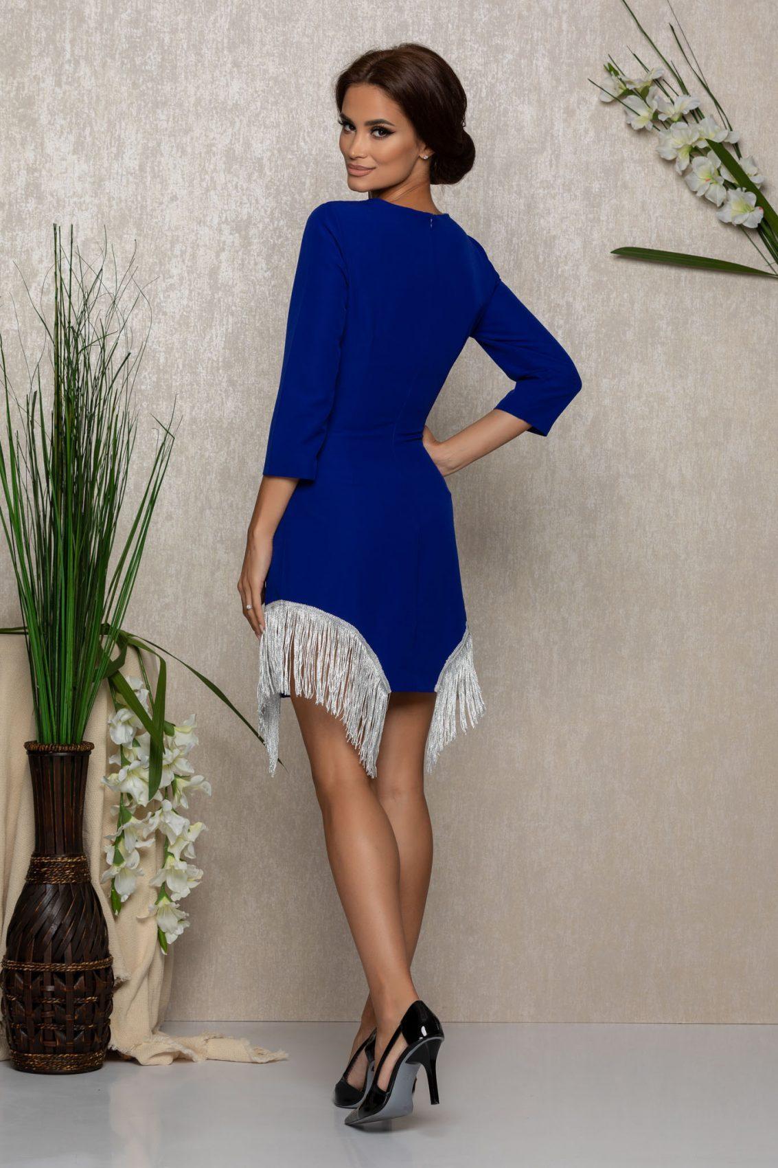 Μίνι Μπλε Ρουά Φόρεμα Με Κρόσια Juniper 9285 2