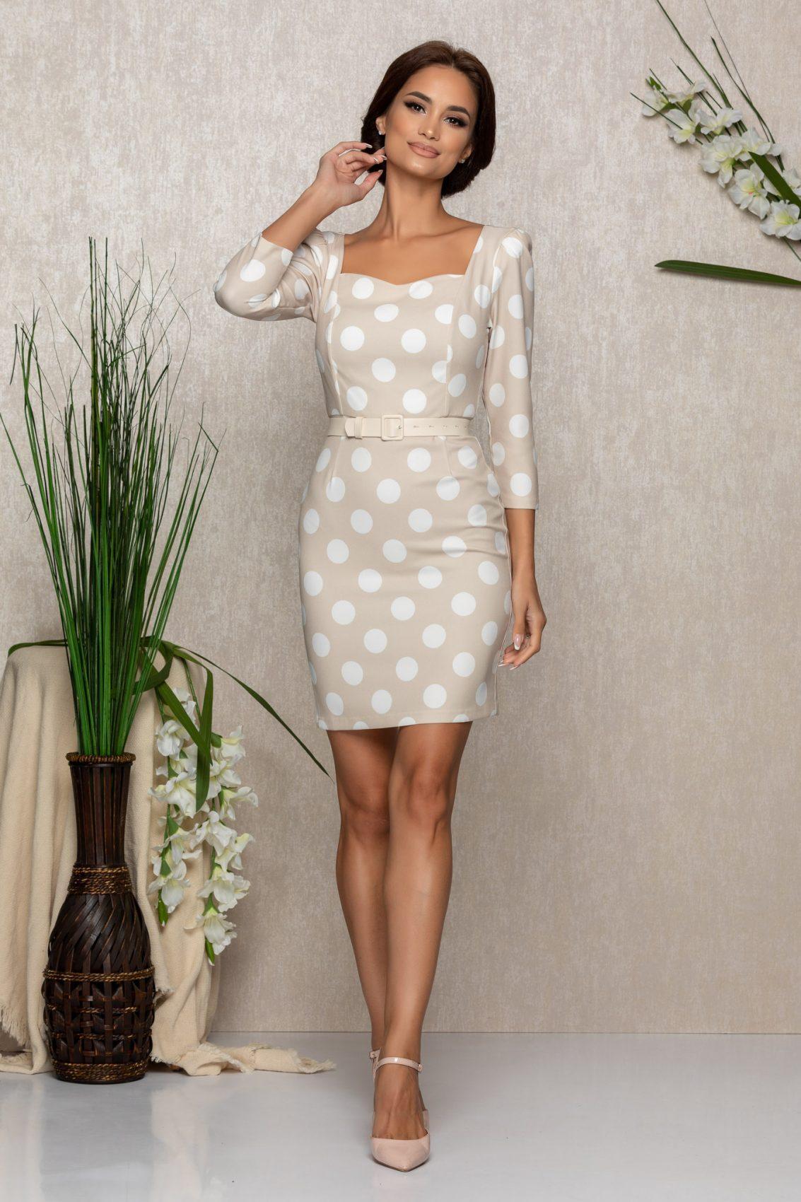 Εκρού Πουά Φόρεμα Με Ζώνη Marianne 1054 1