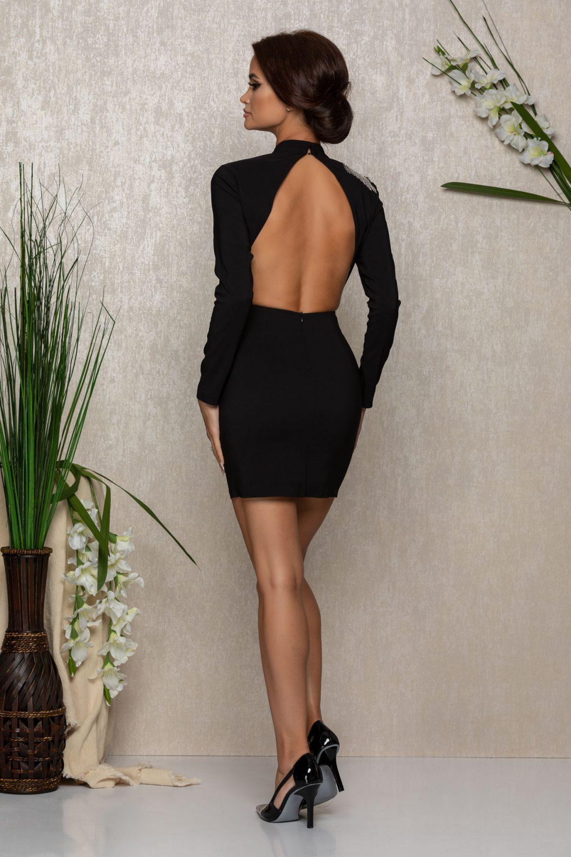 Μαύρο Μίνι Εξώπλατο Φόρεμα Misty 1067 2