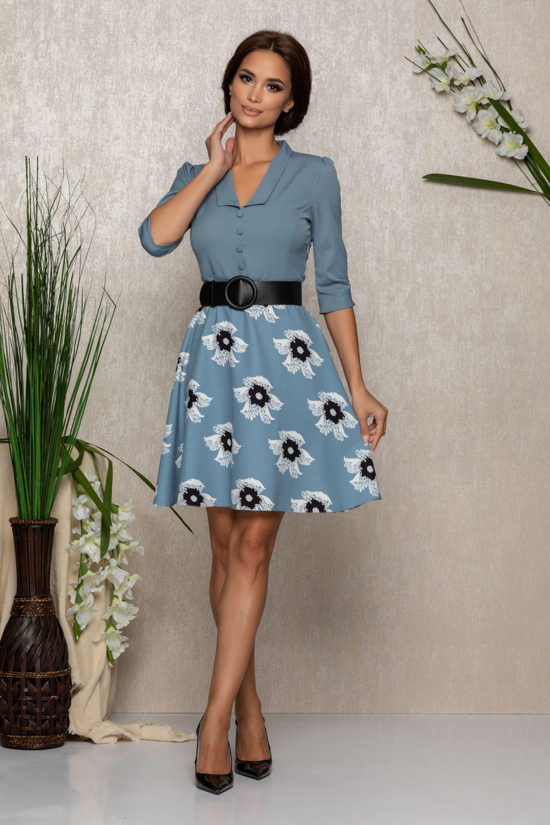 Μπλε Φλοράλ Φόρεμα Με Ζώνη Davonne 9379 1