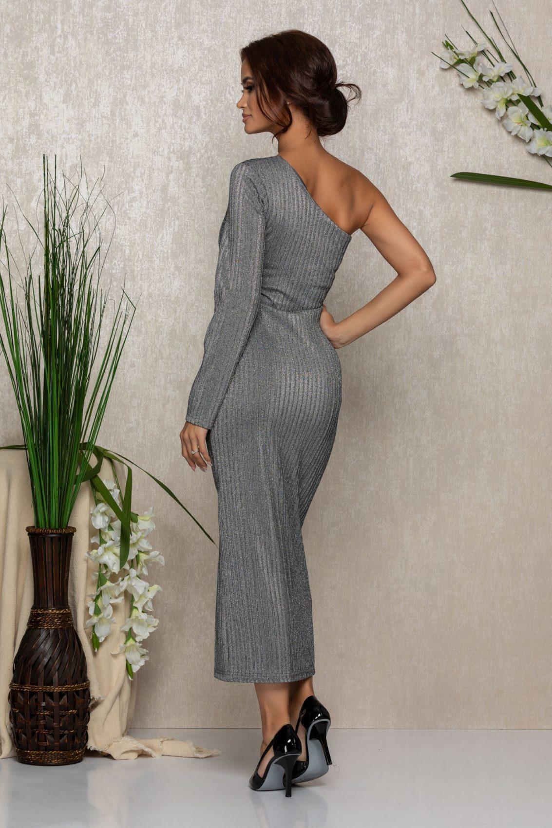 Ασημί Βραδινό Φόρεμα Samantha 9208 2