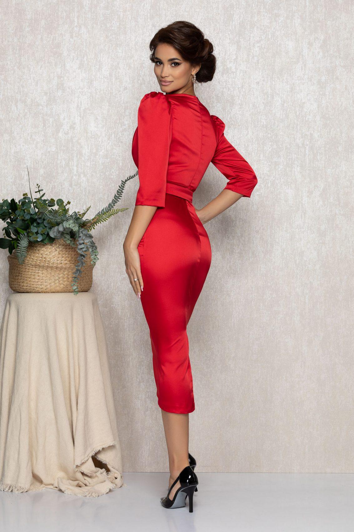 Κόκκινο Σατέν Μίντι Βραδινό Φόρεμα Brillia T173 2