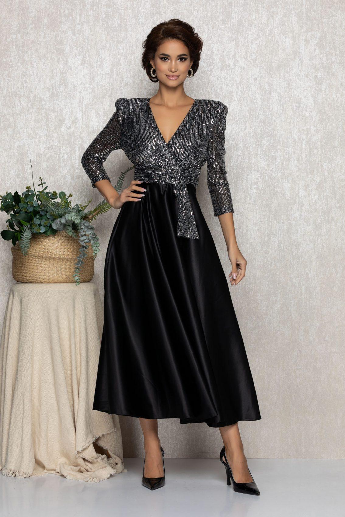 Μαύρο Σατέν Μίντι Βραδινό Φόρεμα Sparkle T240 1