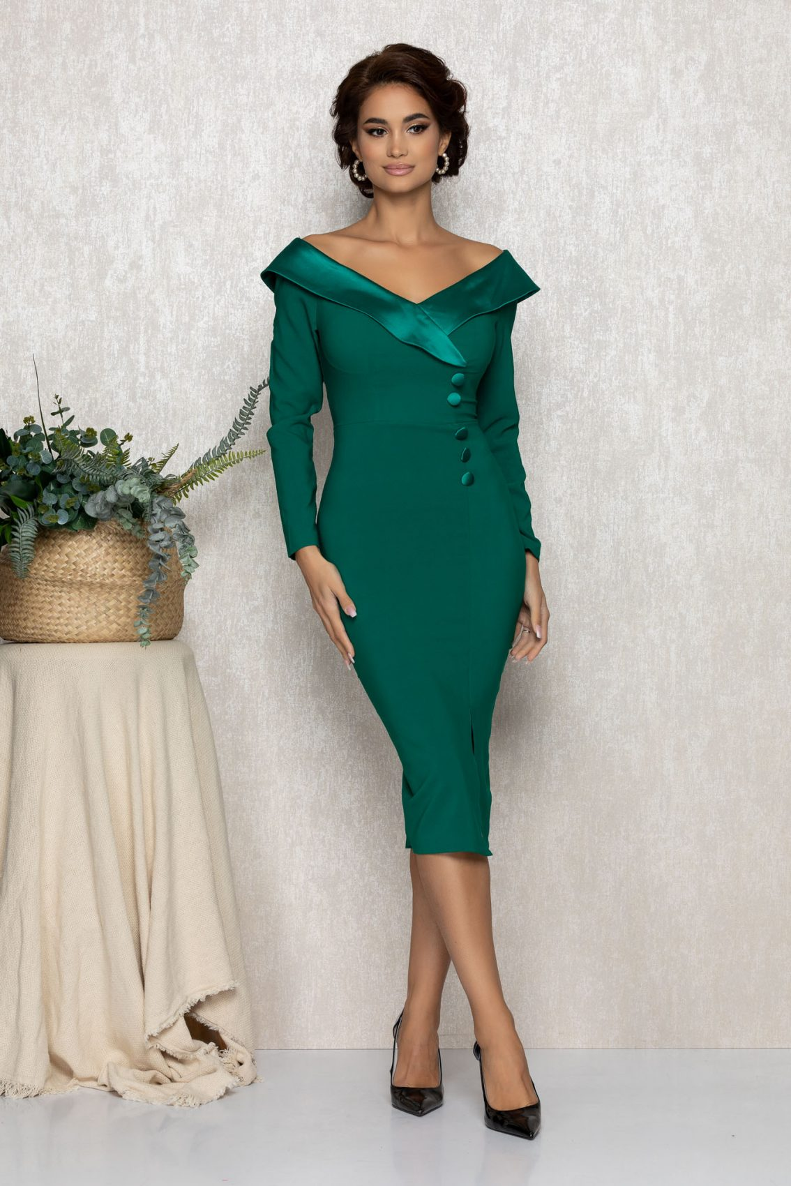Πράσινο Μίντι Μακρυμάνικο Αμπιγιέ Φόρεμα Felly T167 1